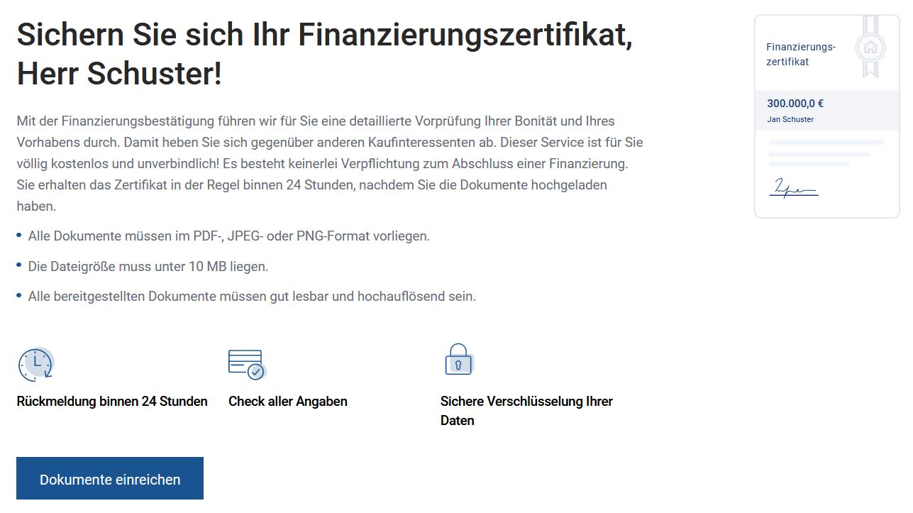 Finanzierungsabalauf Finanzierungszertifikat erhalten
